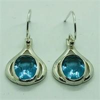 SILVER BLUE TOPAZ DANGLING EARRINGSS (120 - CR95)