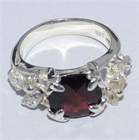 SILVER MULTI STONE RING (123 - CR95)   (D2)