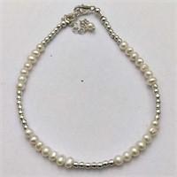 SILVER WHITE PEARL BRACELET (136 - CR95)   (D2)