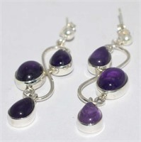 SILVER  AMETHYST STUD EARRINGS (140 - CR95)