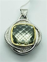 Silver Green Amethyst(7.6cts)  Pendant (~weight