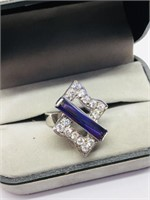 Silver Amethyst Cubic Zirconia  Ring (~weight