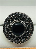 Silver Black Onyx  Ring (~weight 5.4g) (155 -