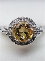 Silver Citrine Cubic Zirconia  Ring (159 - CR95)