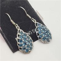 Rhodium Plated Blue Topaz  Earrings (165 - CR95)