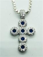 Silver Cubic Zirconia Cross Shaped Pendant (168 -