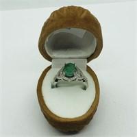 Silver Emerald Cubic Zirconia  Ring (182 - CR95)