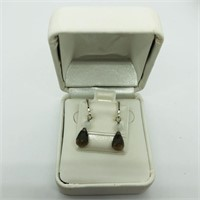 Silver Smokey Quartz(4ct)  Earrings (183 - CR95)