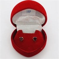 10K Yellow Gold Garnet(0.9ct)  Earrings, Made in