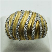 2-toned Silver Cubic Zirconia  Ring (~weight