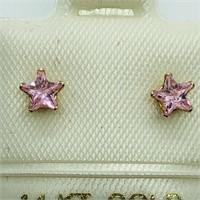 14K Yellow Gold Pink Cubic Zirconia  Earrings