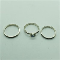 Silver Cubic Zirconia Marcasite  Set Of 3 Rings