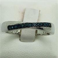 Silver 13 Blue Diamonds  Ring (199 - CR95)   (D2)