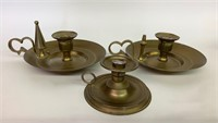 Lot of 3 Brass Finger Candle Stick Holders