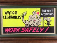 Vintage Hand Painted Safety Sign