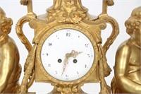 Massive 3 Piece Figural Gilt Bronze Clock Set