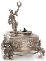 German Sterling Silver Animated Singing Bird Box