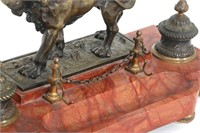 Marble and Bronze Lion Double Inkwell