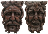 Pair of Figural Oak Wall Hanging Corbels