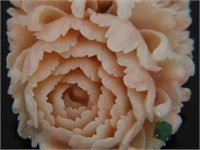 Carved Angel Skin Coral Double Carnation Brooch
