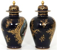 Pair of Royal Vienna Hand Painted Porcelain Urns
