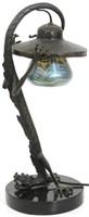 Austrian Bronze & Art Glass Table Lamp