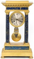 French Empire Lapis Lazuli Portico Clock