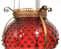 Pair of Cranberry Hobnail Pulldown Hall Lamps