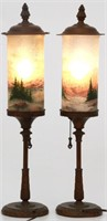 Pair of Handel Rev. & Obv. Painted Torchiere Lamps