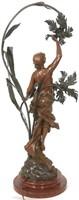 Figural Bronze 3 Light Newell Lamp