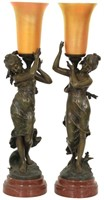 Pair Figural Standing Lamps with Art Glass Shades