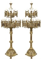 Pair of Monumental Gothic Style Bronze Torchieres