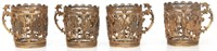 4 Silver Russian Imperial Eagle Cup Holders