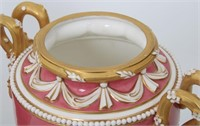 Pair of Royal Worcester Porcelain Covered Urns