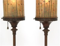 Pair of Handel Reverse Painted Torchiere Lamps