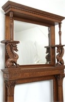 Carved Oak Fireplace Mantle with Griffins