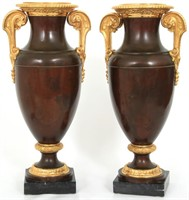 Large Pair of Gilded & Silvered Bronze Vases
