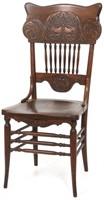 Set of 6 Elk Head Oak Pressed Back Chairs