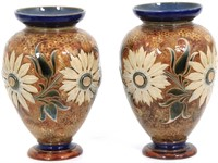Pair Of Doulton Lambeth Pottery Vases