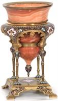 Bronze Cloisonne & Turned Marble Urn