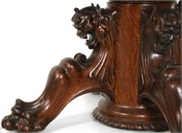 Carved Oak Griffin Head Dining Table