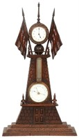 Carved Oak Mantle Clock with Barometer