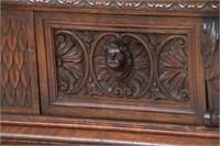 Figural Carved 2 Door Walnut China Cabinet