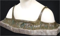 Bronze & Alabaster Bust of a Woman