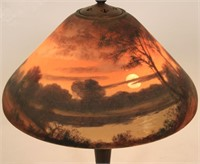 Handel 18 Inch Reverse Painted Scenic Table Lamp