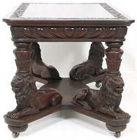 Carved Mahogany Figural Lion Library Table