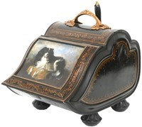 Hand-Painted Tole Coal Scuttle