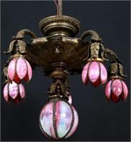 Bronze Decorated 6 Light Tulip Chandelier