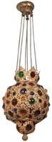 Miniature Jeweled Brass Pull-Down Hall Lamp