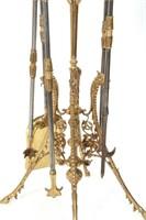 4 Piece Brass Fireplace Set with Stand